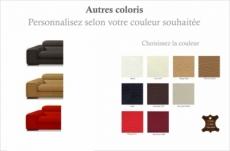 ensemble geneva 2 pièces: canapé 3 places + 2 places en cuir luxe italien vachette, couleur personnalisée