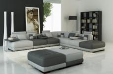 canapé d'angle en cuir italien 6/7 places petit elixir, gris clair et gris foncé, angle droit
