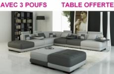 canapé d'angle en 100% tout cuir intégral italien 7/8 places elixir prestige, avec 3 poufs et la table, gris foncé et gris clair, angle gauche