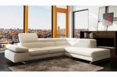 canapé d'angle en cuir italien 5/6 places petit george, blanc, angle droit