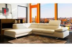 canapé d'angle en cuir italien 5/6 places grand george, écru, angle gauche
