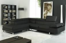 canapé d'angle en cuir italien 5/6 places grand george, noir, angle gauche