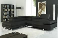 canapé d'angle en cuir italien 5/6 places petit george, noir, angle gauche