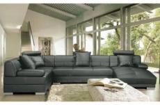 canapé d'angle en cuir prestige luxe italien 8 places napoli, gris foncé, angle gauche et méridiene à droite (vu de face)