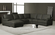 canapé d'angle en cuir italien 6/7 places mister, gris foncé