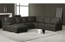 canapé d'angle en cuir italien 6/7 places mister, noir, angle droit