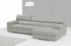 canapé d'angle en cuir italien 5 places perle, gris clair