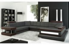 canapé d'angle en cuir italien 8 places majestic, gris foncé
