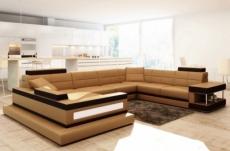 canapé d'angle en cuir italien 8 places majestic, marron