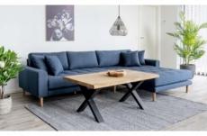 canapé d'angle en tissu matelassé de qualité lima coloris bleu foncé, angle droit