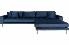 canapé d'angle en tissu velours de qualité, lima velours, coloris bleu foncé, angle droit