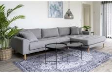 canapé d'angle en tissu matelassé de qualité lima coloris gris clair, angle droit