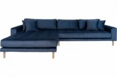 canapé d'angle en tissu velours de qualité, lima velours, coloris bleu marine, angle gauche