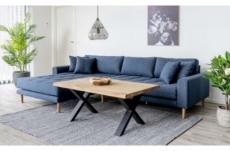 canapé d'angle en tissu matelassé de qualité lima coloris bleu foncé, angle gauche