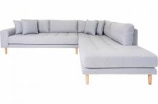 canapé d'angle en tissu de qualité livio, coloris gris clair, angle droit