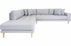 canapé d'angle en tissu de qualité livio, coloris gris clair, angle gauche
