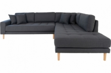 canapé d'angle en tissu de qualité livio, coloris gris foncé, angle droit