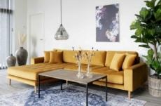- canapé d'angle en tissu velours de qualité, lima velours, coloris moutarde, angle gauche