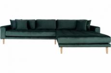 canapé d'angle en tissu velours de qualité, lima velours, coloris vert, angle droit
