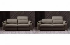 ensemble de 2 canapés : un canapé 2 places avec 2 relax électriques et un canapé 2 places sans relax, en cuir italien buffle toprelax, moka
