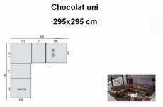 canapé d'angle double relax électrique en cuir de buffle italien de luxe bestrelax, sur mesure personnalisé sur demande du client, une assise en moins sur la longueur, chocolat uni, 295x295cm, table offerte