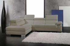 canapé d'angle en cuir italien 5 places helios, gris clair