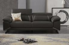 canapé 3 places en cuir italien buffle granti, couleur noir et liseret moka