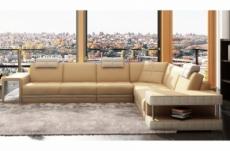 canapé d'angle en cuir italien 6/7 places john, beige/blanc