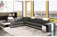 canapé d'angle en cuir italien 6/7 places john, gris foncé/blanc