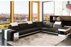 canapé d'angle en cuir italien 6/7 places john, noir/blanc
