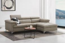 canapé d'angle en cuir buffle italien de luxe 5 places lido, beige, angle droit