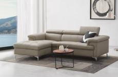 - canapé d'angle en cuir buffle italien de luxe 5 places lido, beige, angle gauche