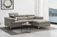 canapé d'angle en cuir buffle italien de luxe 5 places lido, gris clair, angle droit