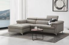 - canapé d'angle en cuir buffle italien de luxe 5 places lido, gris clair, angle gauche