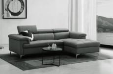 canapé d'angle en cuir buffle italien de luxe 7 places lido, gris foncé, angle droit