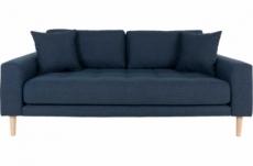 canapé 2,5 places en tissu de qualité lisa coloris bleu foncé