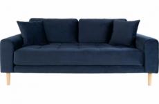 canapé 2,5 places en tissu velours de qualité lisa velours coloris bleu foncé