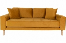 canapé 2,5 places en tissu velours de qualité lisa velours coloris moutarde
