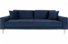 canapé 3 places en tissu velours de qualité lisa velours coloris bleu foncé