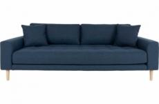 canapé 3 places en tissu de qualité lisa coloris bleu foncé