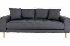 canapé 2,5 places en tissu de qualité lisa coloris gris foncé