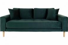 canapé 2,5 places en tissu velours de qualité lisa velours coloris vert foncé