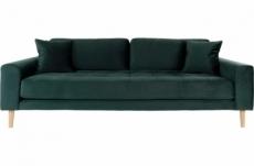 canapé 3 places en tissu velours de qualité lisa velours coloris vert foncé