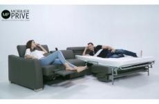 canapé relax et convertible en cuir de buffle italien de luxe 5/6 places yuca, gris foncé