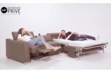 canapé relax et convertible en cuir de buffle italien de luxe 5/6 places yuca, moka