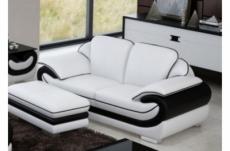 canapé 2 places en cuir italien vachette candide blanc et noir