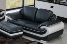 canapé 2 places en cuir italien vachette candide noir et blanc
