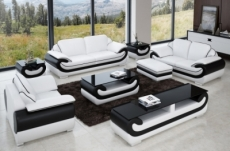 ensemble canapé 3 places et 2 places et fauteuil en cuir italien vachette candide, couleur blanc et noir