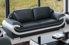 canapé 3 places en cuir italien vachette candide noir et blanc