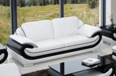 canapé 3 places en cuir italien vachette candide blanc et noir